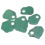 Wisiorek z turkusem, Turkus naturalny, zielony, 32-52x55-68x5-6mm, otwór:około 12mm, 30komputery/wiele, sprzedane przez wiele