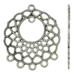 Flower Zinc Alloy Connector, antique silver color plated, 1/5 loop, nickel, lead & cadmium free, 28x33x1.50mm, Hole:Approx 2mm, Approx 580PCs/KG, Sold By KG