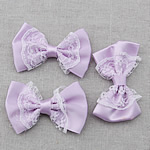 Iron on Patches, Cloth, with Lace, Bowknot, purple, 58x38mm, 150PCs/Bag, Sold By Bag