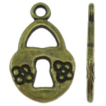 Sinkkiseos Lock riipukset, Lukko, antiikki pronssi väri päällystetty, nikkeli, lyijy ja kadmium vapaa, 10x16x1.50mm, Reikä:N. 1.5mm, N. 1660PC/KG, Myymät KG
