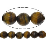 Natural Tiger Eye Beads, Round, faceted, 10mm, Hole:Approx 1mm, Length:Approx 15 Inch, 5Strands/Lot, Approx 37PCs/Strand, Sold By Lot
