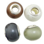 European Resin Beads, Rondelle, platinum color plated, brass double core without troll, mixed colors, 14x10mm, Hole:Approx 5mm, 100PCs/Lot, Sold By Lot