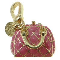 Key Chain, Zinc Alloy, Handbag, gold color plated, enamel, nickel, lead & cadmium free, 37x30mm, Hole:Approx 2mm, 5PCs/Bag, Sold By Bag