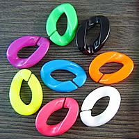 Akrylowy Pierścień łączący, Akryl, Płaski owal, mieszane kolory, 30x22mm, 500komputery/torba, sprzedane przez torba