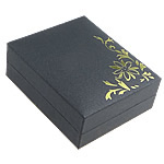Paper Pendant Box, with PVC Plastic, Rectangle, with flower pattern & gold accent, black, 67x80x27mm, 20PCs/Bag, Sold By Bag