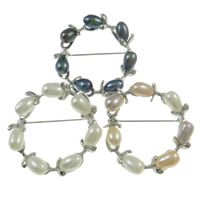 Freshwater Pearl Brooch, with Zinc Alloy, Donut, mixed colors, 7-8mm, Sold By PC