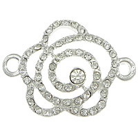 Flower Zinc Alloy Connector silver color plated with rhinestone   1/1 loop nickel lead   cadmium free 33x24x5mm Hole:Approx 2mm 100PCs/Lot