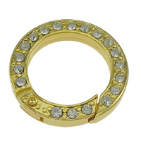 Zinc Alloy Jewelry Clasp, Donut, gold color plated, with rhinestone, nickel, lead & cadmium free, 24x4mm, Inner Diameter:Approx 17mm, 30PCs/Lot, Sold By Lot