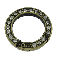 Zinc Alloy Jewelry Clasp, Donut, antique bronze color plated, with rhinestone, nickel, lead & cadmium free, 24x4mm, Inner Diameter:Approx 17mm, 50PCs/Lot, Sold By Lot