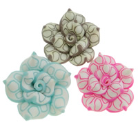 Polymer Clay Beads, Flower, mixed colors, (20-22)x(10-12)mm, Hole:Approx 1-2mm, 100PCs/Bag, Sold By Bag