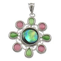 Cats Eye Pendants, Abalone Shell, with Cats Eye & Brass, Flower, platinum color plated, nickel, lead & cadmium free, 35x47x4mm, Hole:Approx 4x8mm, 10PCs/Lot, Sold By Lot