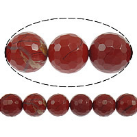 Red Jasper Beads, Round, faceted, 6mm, Hole:Approx 0.8mm, Length:Approx 15 Inch, 10Strands/Lot, Approx 62PCs/Strand, Sold By Lot