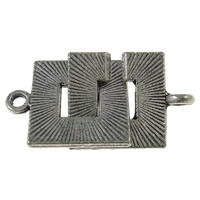 Zinc Alloy Interlocking Clasp, Square, antique silver color plated, single-strand, nickel, lead & cadmium free, 15x19x1.5mm, 15x19x1.5mm, Hole:Approx 2mm, Approx 270PCs/KG, Sold By KG