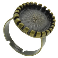 Brass Bezel Ring Base, Flat Oval, antique bronze color plated, nickel, lead & cadmium free, 17x22x3mm, Hole:Approx 1mm, Size:6.5, 50PCs/Bag, Sold By Bag