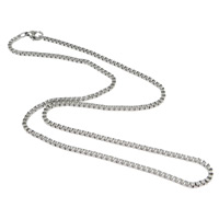 Stainless Steel Chain Necklace stainless steel lobster clasp box chain original color 2mm Length:Approx 17 Inch 30Strands/Lot