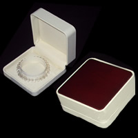 PU Bracelet Box, Square, 90x90x35mm, 10PCs/Lot, Sold By Lot