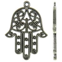 Zinklegering Hamsa Hangers, Zinc Alloy, antiek zilver plated, Joodse Jewelry & Islam sieraden & hol, nikkel, lood en cadmium vrij, 21x29.50x1.50mm, Gat:Ca 1mm, Ca 500pC's/KG, Verkocht door KG