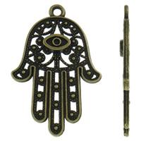 Zinklegering Hamsa Hangers, Zinc Alloy, antiek brons plated, Islam sieraden & hol, nikkel, lood en cadmium vrij, 27.50x42x3mm, Gat:Ca 2.5mm, Ca 250pC's/KG, Verkocht door KG