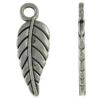 Sinkkiseos Feather riipukset, Sulka, antiikki hopea päällystetty, nikkeli, lyijy ja kadmium vapaa, 6.50x18.50x1mm, Reikä:N. 2mm, N. 2500/