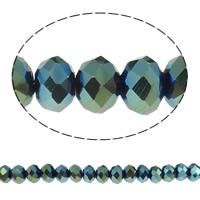 Kryształowe koraliki rondelle, Kryształ, Okrąg, Platerowane kolorem AB, imitacja kryształu CRYSTALLIZED™, indygolit, 4x6mm, otwór:około 1mm, długość:około 19 , 10nici/torba, około 120komputery/Strand, sprzedane przez torba
