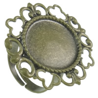 Brass Bezel Ring Base, antique bronze color plated, adjustable, nickel, lead & cadmium free, 27x32x1mm, Inner Diameter:Approx 15x18mm, US Ring Size:6.5, 440PCs/Bag, Sold By Bag