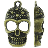 Zinc Alloy Skull Pendants, antique bronze color plated, nickel, lead & cadmium free, 16.50x29x6mm, Hole:Approx 2mm, Approx 355PCs/KG, Sold By KG