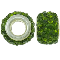 Rhinestone European Beads, Rhinestone Clay Pave, Drum, platinum color plated, brass double core without troll & with rhinestone, apple green, 8x12mm, Hole:Approx 4.5mm, 30PCs/Bag, Sold By Bag