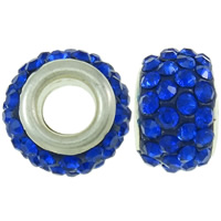 Rhinestone European Beads Rhinestone Clay Pave Drum platinum color plated brass double core without troll   with rhinestone blue 8x12mm Hole:Approx 4.5mm 30PCs/Bag