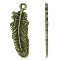 Sinkkiseos Feather riipukset, Sulka, antiikki pronssi väri päällystetty, nikkeli, lyijy ja kadmium vapaa, 10x30x1.50mm, Reikä:N. 1.5mm, N. 710PC/KG, Myymät KG