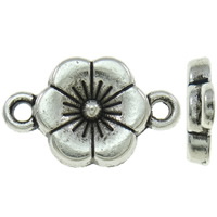 Flower Zinc Alloy Connector antique silver color plated 1/1 loop nickel lead   cadmium free 10x17x2mm Hole:Approx 1.5mm Approx 1220PCs/KG