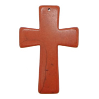 Turquoise Pendant, Cross, red, 41x59x5.50mm, Hole:Approx 1mm, 100PCs/Lot, Sold By Lot
