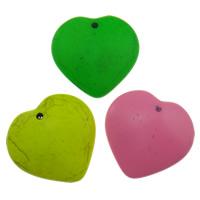 Turkus syntetyczny Wisiorek, Serce, Malowane, fluorescencyjny, mieszane kolory, 38x36x10mm, otwór:około 2mm, sprzedane przez PC
