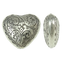 Copper Coated Plastic Beads, Heart, antique silver color plated, lead & cadmium free, 30x26.50x13mm, Hole:Approx 2.5mm, 10PCs/Bag, Sold By Bag