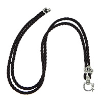 Fashion Necklace Cord, Nylon Cord, with Zinc Alloy, platinum color plated, with rhinestone, brown, nickel, lead & cadmium free, 3mm, 11x10x6mm, 12x17x7mm, Length:Approx 26 Inch, 50Strands/Lot, Sold By Lot