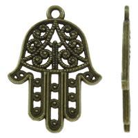 Zinklegering Hamsa Hangers, Zinc Alloy, antiek brons plated, Joodse Jewelry & Islam sieraden, nikkel, lood en cadmium vrij, 22x30x2mm, Gat:Ca 1.5mm, Ca 450pC's/KG, Verkocht door KG