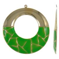 Wisiorki szkliwa ze stopów cynku, żelazo, Pączek, Platerowane w kolorze złota, emalia, zielony, bez zawartości niklu, ołowiu i kadmu, 60x64x3mm, otwór:około 1mm, 10komputery/torba, sprzedane przez torba