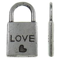 Sinkkiseos Lock riipukset, Lukko, antiikki hopea päällystetty, nikkeli, lyijy ja kadmium vapaa, 10.50x20x2mm, Reikä:N. 6x6mm, N. 710PC/KG, Myymät KG