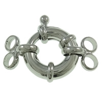 Brass Spring Ring Clasp, platinum color plated, 2-strand, nickel, lead & cadmium free, 17x28x5mm, Hole:Approx 3mm, 50PCs/Bag, Sold By Bag
