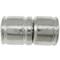 Zapięcie magnetyczne ze stopów cynku, Stop cynku, Rurka, Platerowane w kolorze platyny, bez zawartości niklu, ołowiu i kadmu, 10x18.5mm, otwór:około 4.5mm, 20zestawy/torba, sprzedane przez torba