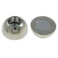 Zapięcie magnetyczne ze stopów cynku, Stop cynku, Bęben, Platerowane w kolorze platyny, bez zawartości niklu, ołowiu i kadmu, 13x12mm, otwór:około 5mm, 50zestawy/torba, sprzedane przez torba