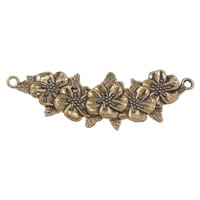 Flower Zinc Alloy Connector, antique gold color plated, 1/1 loop, nickel, lead & cadmium free, 38x111x5mm, Hole:Approx 4mm, 10PCs/Bag, Sold By Bag