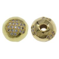 Cyrkoniami Koraliki mosiężne mikro Brukuje, Mosiądz, Koło, Platerowane w kolorze złota, mikro utorować cyrkonia, bez zawartości niklu, ołowiu i kadmu, 10mm, otwór:około 2mm, sprzedane przez PC