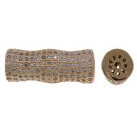 Cyrkoniami Koraliki mosiężne mikro Brukuje, Mosiądz, Bambus, Platerowane kolorem rożowego złota, mikro utorować cyrkonia, bez zawartości niklu, ołowiu i kadmu, 28x11mm, otwór:około 1.5mm, sprzedane przez PC