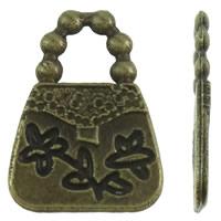 Zinklegering Handtas Hangers, Zinc Alloy, antiek brons plated, met bloempatroon, nikkel, lood en cadmium vrij, 11x16x1mm, Gat:Ca 4x4.5mm, Ca 1425pC's/KG, Verkocht door KG
