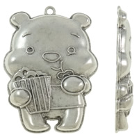Zinc Alloy Animal Pendants, Bear, antique silver color plated, nickel, lead & cadmium free, 41x57x7mm, Hole:Approx 3mm, Approx 60PCs/KG, Sold By KG