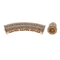 Cyrkoniami Koraliki mosiężne mikro Brukuje, Mosiądz, zakrzywione Tube, Platerowane kolorem rożowego złota, mikro utorować cyrkonia & pusty, bez zawartości niklu, ołowiu i kadmu, 30x6.5mm, otwór:około 3.5mm, sprzedane przez PC