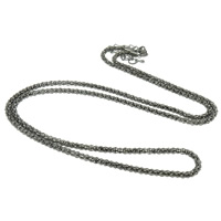 Iron Necklace Chain, with 7cm extender chain, plumbum black color plated, nickel, lead & cadmium free, 3mm, Length:Approx 29.5 Inch, 20Strands/Bag, Sold By Bag