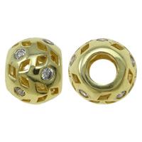 Cyrkoniami Koraliki mosiężne mikro Brukuje, Mosiądz, Bęben, Platerowane w kolorze złota, mikro utorować cyrkonia & pusty, bez zawartości niklu, ołowiu i kadmu, 12x9.5mm, otwór:około 4.5mm, sprzedane przez PC