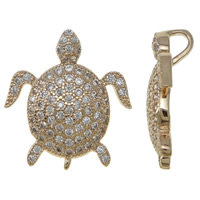 Cubic Zirconia Micro Pave Brass Pendant, Turtle, rose gold color plated, micro pave cubic zirconia, nickel, lead & cadmium free, 14x18x5.50mm, Hole:Approx 3.5mm, Sold By PC