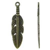 Sinkkiseos Feather riipukset, Sulka, antiikki pronssi väri päällystetty, nikkeli, lyijy ja kadmium vapaa, 8x29x1.50mm, Reikä:N. 1.5mm, N. 1425PC/KG, Myymät KG